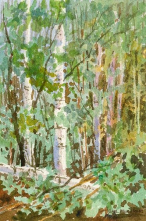 """Mid-Summer Trees and the size is 6""""x9"""", watercolor_Gael_Murakami"""