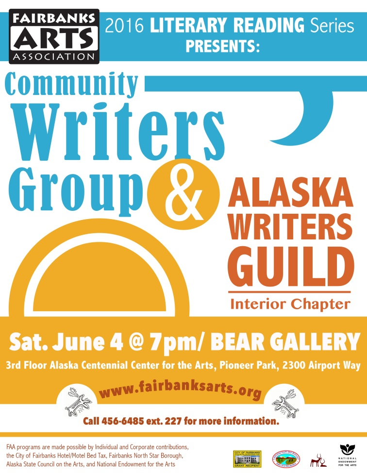 Community Writers Group (a community peer critique group) & Alaska Writers Guild both hold monthly meetings at FAA and have an annual reading.