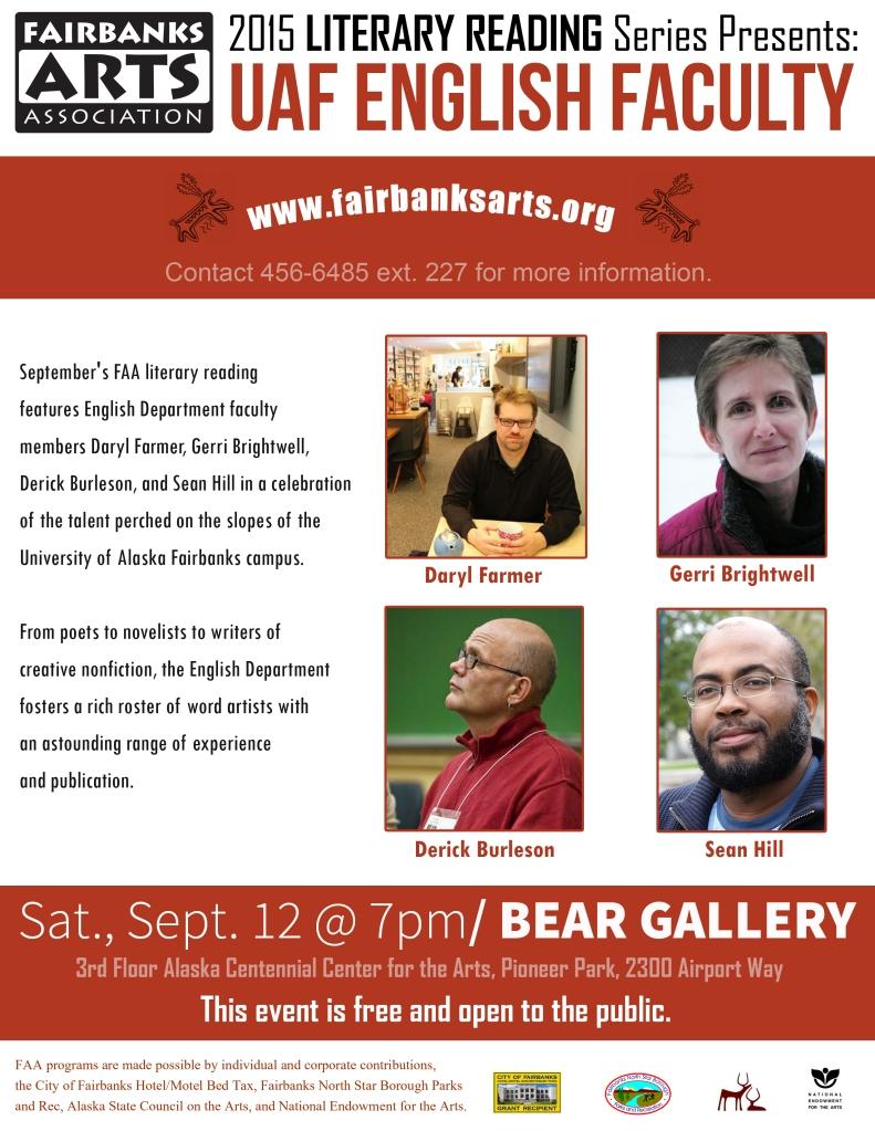 Flier for September 12th Literary Reading in the Blue Room.