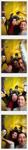 FAA Staff test out the photo booth for Arti Gras