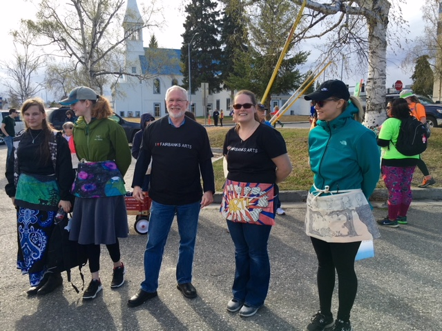 Fairbanks Arts team member Megan Olsen Saville and Mayor Kassel sport some I Love Fairbanks Arts shirts at the ATIA Charity Walk in May