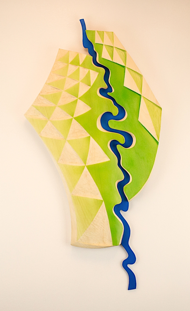 abstract wook art piece with river shape